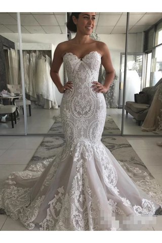 Wedding Dress With Drop Waist And Gorgeous Appliques Mermaid With Court Train Bridal