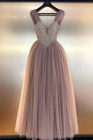 Prom Dresses A Line Tulle With Beading Bodice Floor