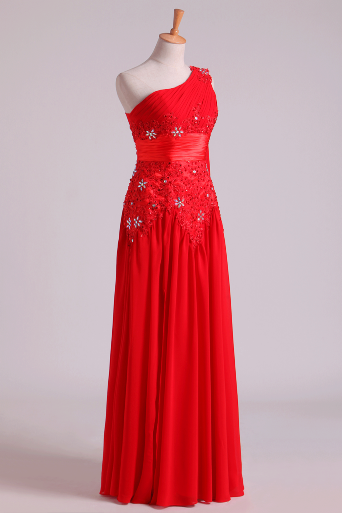 2019 Red One Shoulder A Line Prom Dresses With Applique & Ruffles Floor
