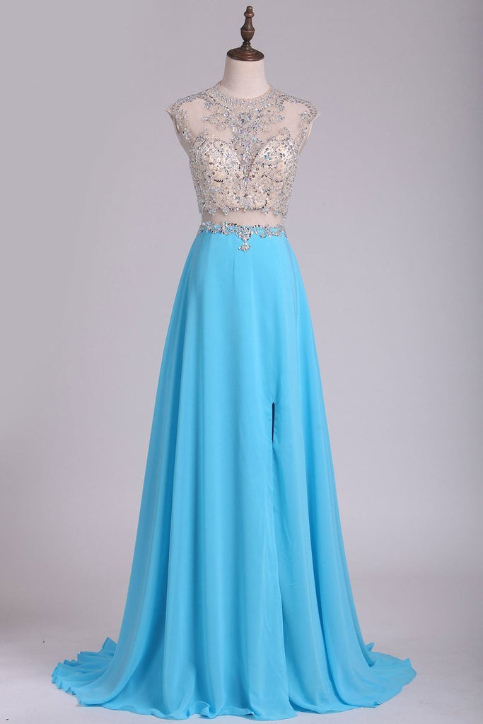 Scoop Prom Dresses Chiffon With Slit And Beads A