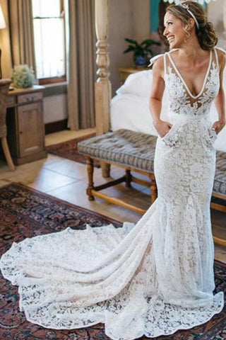 V-Neck Ivory Lace Long Mermaid Elegant Wedding Dresses Wedding