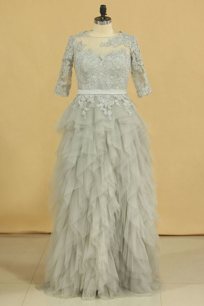 2021 Plus Size Silver Scoop Half Sleeve A Line Mother Of The Bride Dresses With Applique Tulle