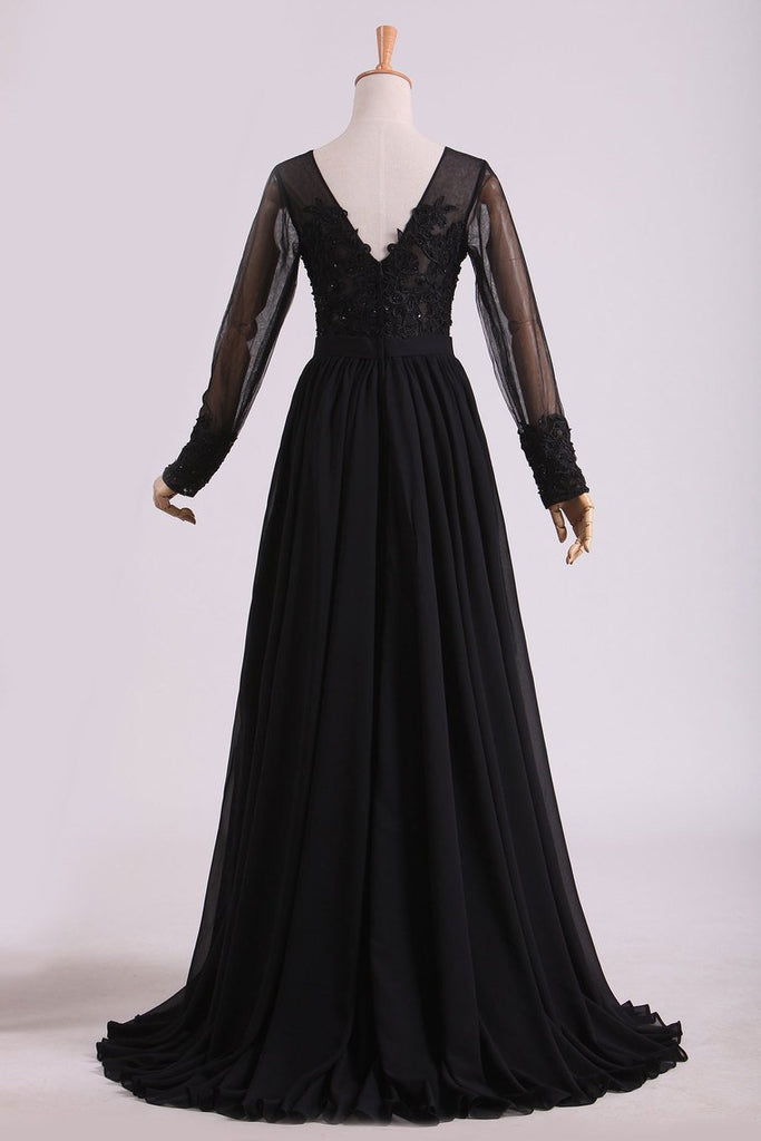 2021 Black Evening Dresses Long Sleeves A Line Chiffon With Applique & Slit