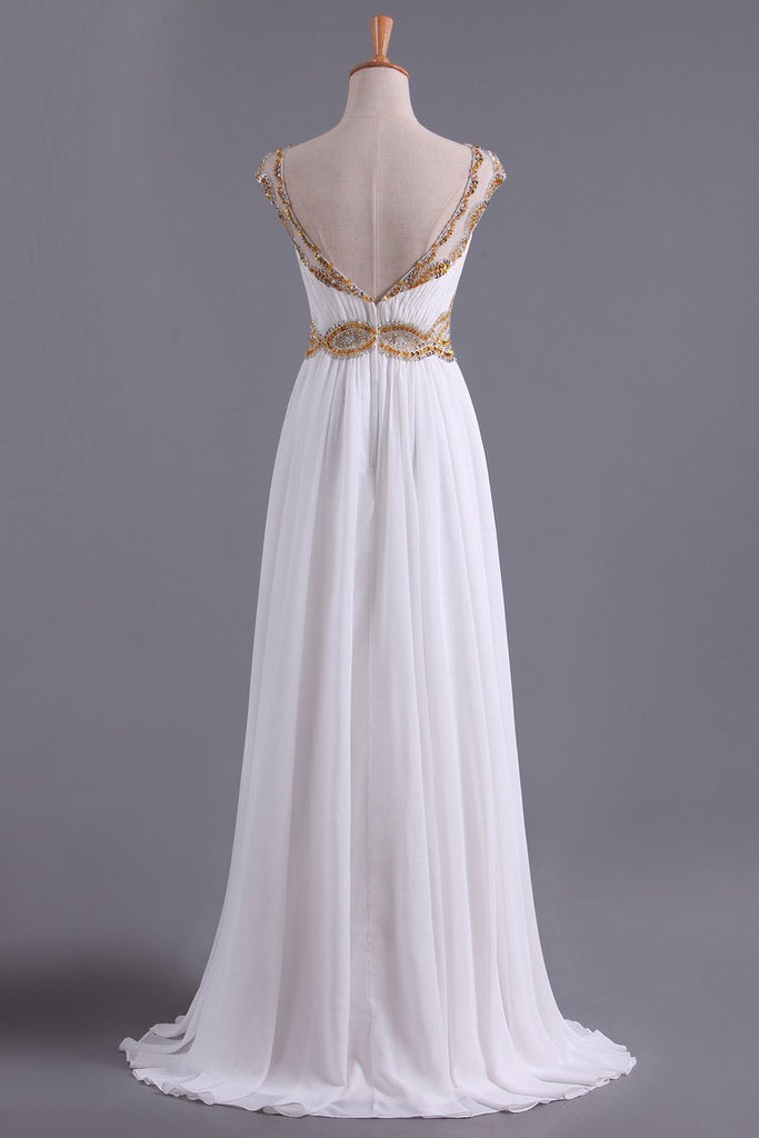 2019 White A Line Prom Dresses Bateau Open Back Chiffon With Beads & Ruffles Sweep