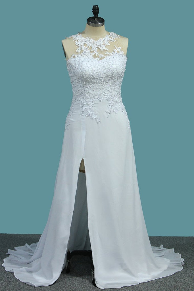 A Line Scoop Chiffon Wedding Dresses With Applique And Slit Sweep