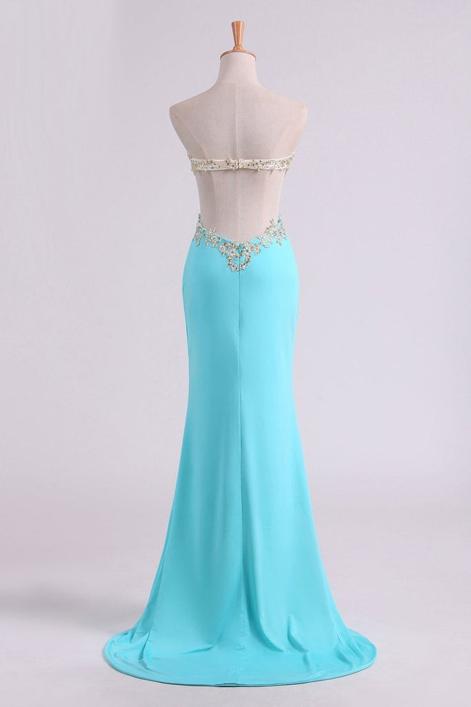 Sexy Prom Dresses Sheath With Slit And Applique Sweep Train