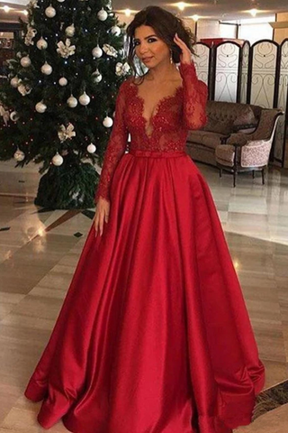 Elegant Long Sleeve Red Lace Beads Long Prom Dresses, A Line Satin Evening