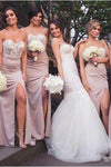 Mermaid Sweetheart Blush Bridesmaid Dresses with Lace, Wedding Party SME20465