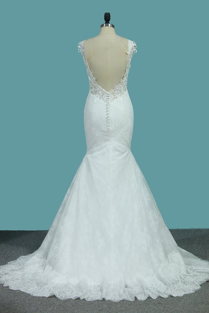 2021 Mermaid Wedding Dresses Lace Straps With Applique Sweep Train Sexy Open