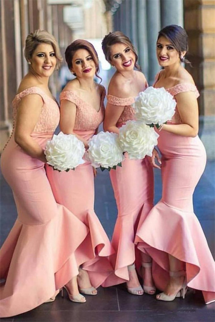 Pretty Mermad Long Satin Off The Shoulder Bridesmaid Dresses For