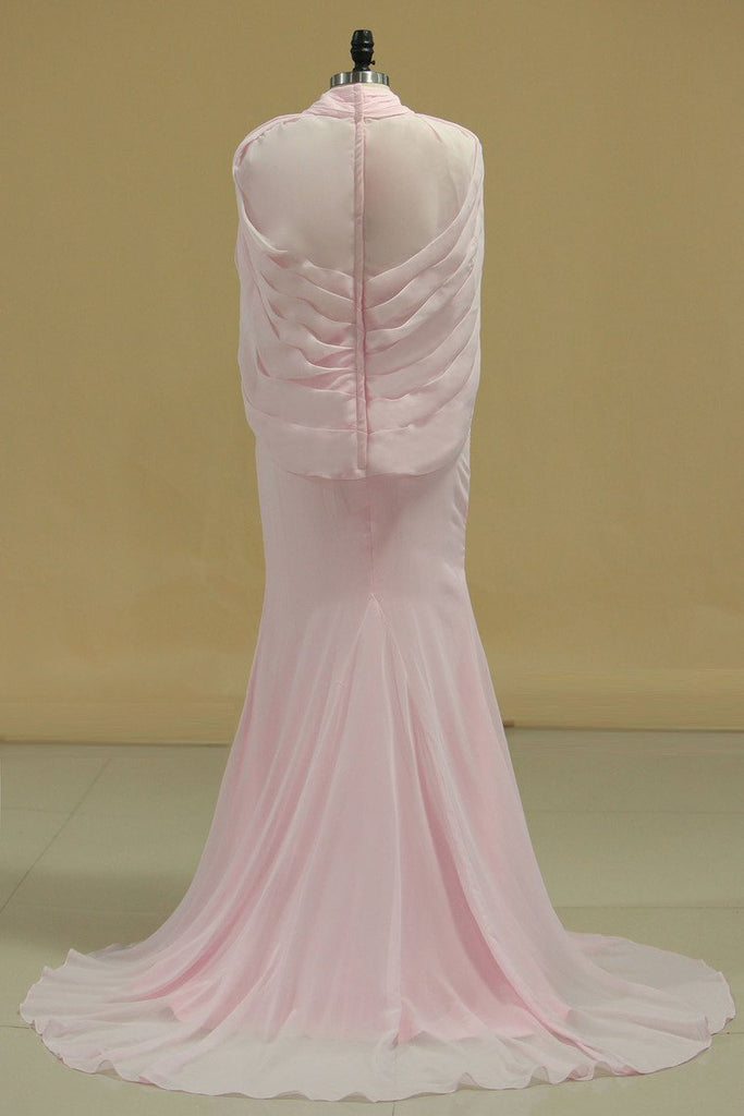 2020 Hot High Neck Prom Dresses Beaded Bodice Chiffon Sweep Train