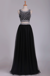 Two Pieces Prom Dress Bateau A Line Tulle With Beading Floor