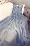 A Line Blue Strapless Sweetheart Tulle Appliques Prom Dresses, Charming Prom Gowns SME14993