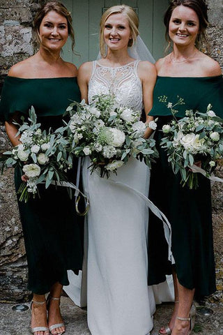 Dark Green Ankle Length Off Shoulder Bridesmaid Dresses, Cheap Chiffon Bridesmaid Dress
