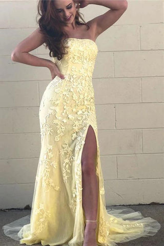 Yellow Mermaid Strapless Lace Appliques Prom Dresses with Slit, Evening SME20475