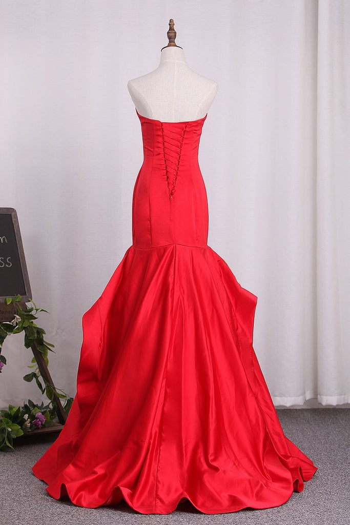 2021 New Arrival Sweetheart Satin Mermaid Lace Up Evening