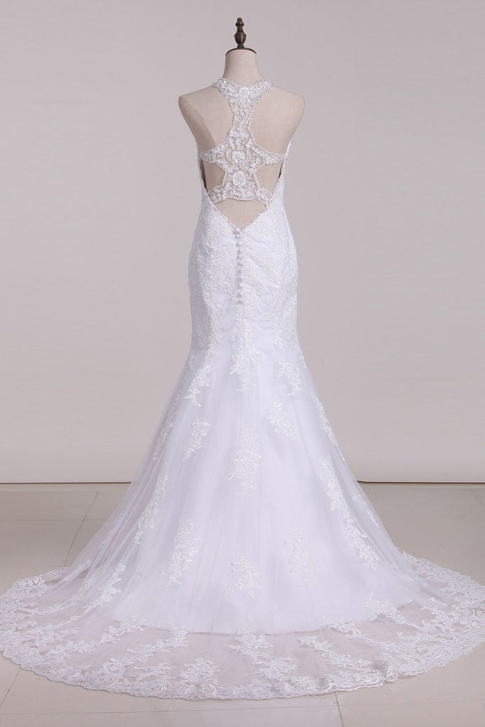 2020 Halter Mermaid Wedding Dresses With Applique Tulle Chapel Train