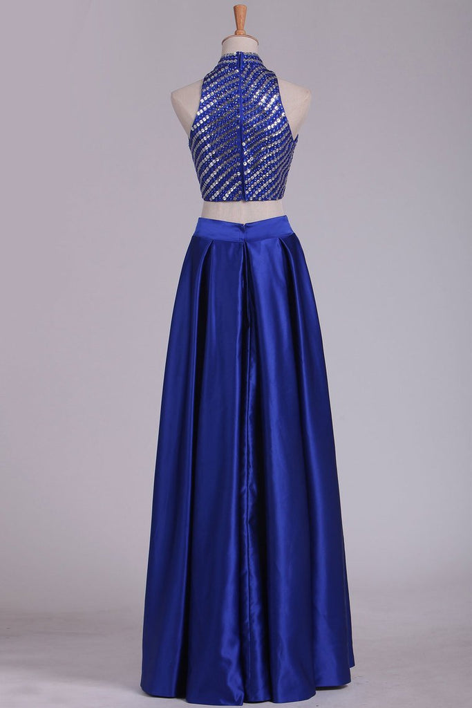 2019 Two Pieces Prom Dresses High Neck Satin With Rhinestones And