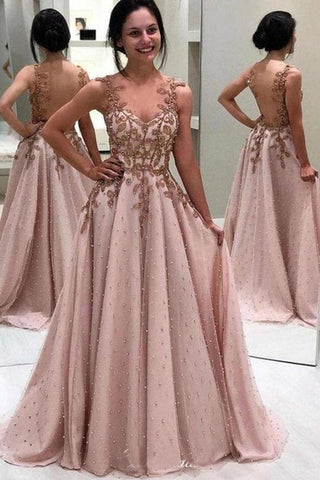 Luxury Beaded Long Prom Dresses, A-Line Popular Appliques Evening