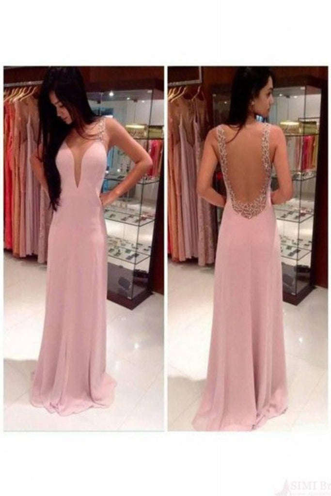 2021 New Arrival Prom Dresses Scoop Chiffon With Beading
