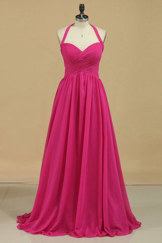 2021 Halter A Line Chiffon Bridesmaid Dresses Floor-Length With Ruffles