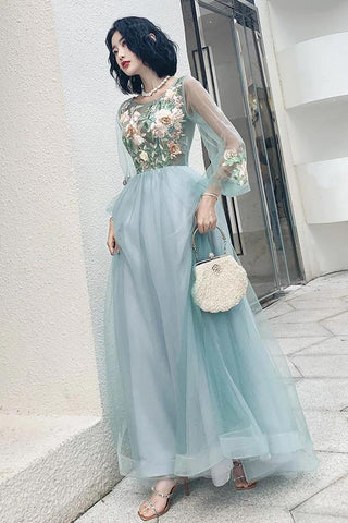 Elegant Long Sleeves Appliqued Tulle Prom Dresses, Floor Length Appliques Evening Dresses SME15175