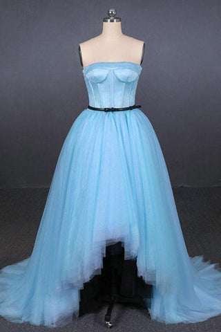 High Low Strapless Tulle Prom Dresses Evening Dresses
