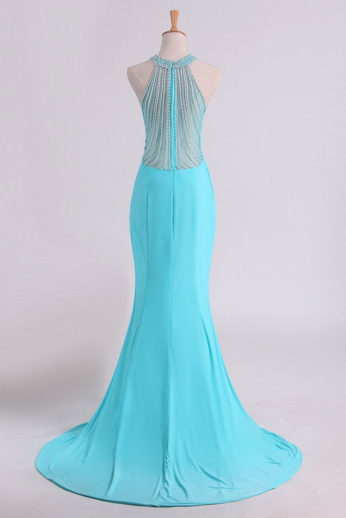 2019 Hot Prom Dresses Scoop Mermaid Spandex With Beading Sweep Train