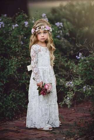 Boho Long Sleeve Lace Flower Girl Dresses With Appliques And Bowknot