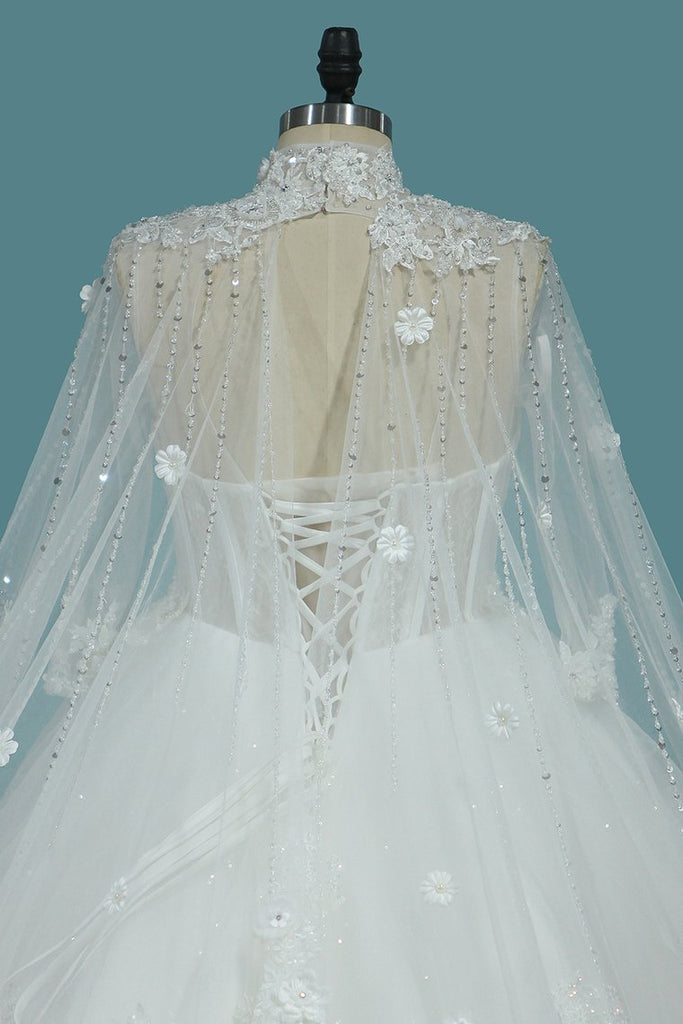 2021 Luxurious Wedding Dresses High Neck Tulle With Sequins Beads Crystals Lace