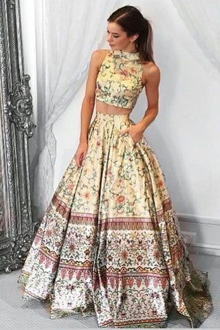 Unique A line Two Piece High Neck Tribal Satin Prom Dresses with Pockets Party Dresses JS190