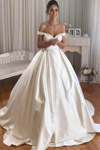 Simple Princess Ivory Ball Gown Sweetheart Satin Off the Shoulder Wedding Dresses SME193