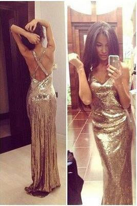 Sparkly Gold Sequins V-Neck Criss Cross Sleeveless Sheath Backless Prom Dresses uk BD086