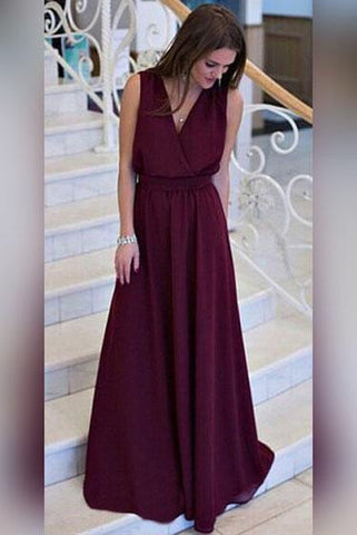 Simple A-line V-neck Chiffon Sweep Train Burgundy Sleeveless Sashes Prom Dresses UK JS404