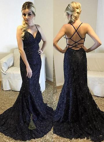 Spaghetti Straps V-Neck Black Mermaid Sparkly Sexy Beads Tulle Unique Prom Dresses UK JS400