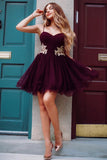 Maroon Mini Spaghetti Straps Sweetheart Lace Applique Above Knee Short Hoco Dresses JS865