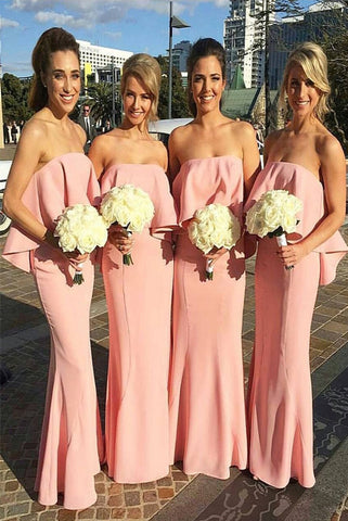 Elegant Mermaid Strapless Pink With Ruched Long Bridesmaid Dresses