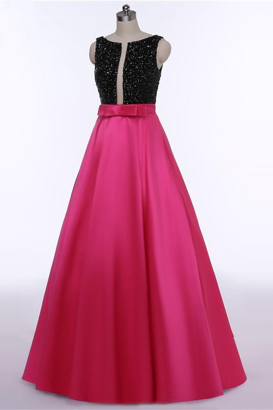 Red Open Back Beads Bowknot with Pockets Round Neck Sleeveless Prom Dresses UK JS511