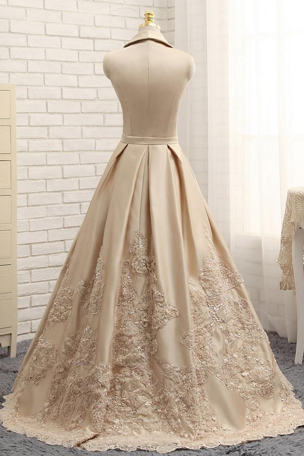 Special A-line V-neck Cap Sleeves Satin Appliques Lace Long Formal Evening Dresses JS429