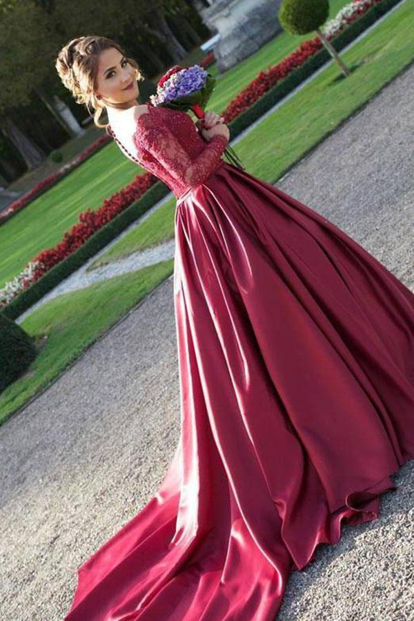 Long Sleeves Off the Shoulder Burgundy Sweetheart Satin Lace Ball Gown Prom Dresses UK JS435