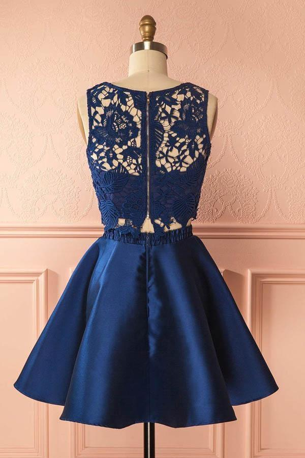Two Piece Dark Blue Satin Cute Short A-Line Homecoming Dress with Lace Appliques JS130