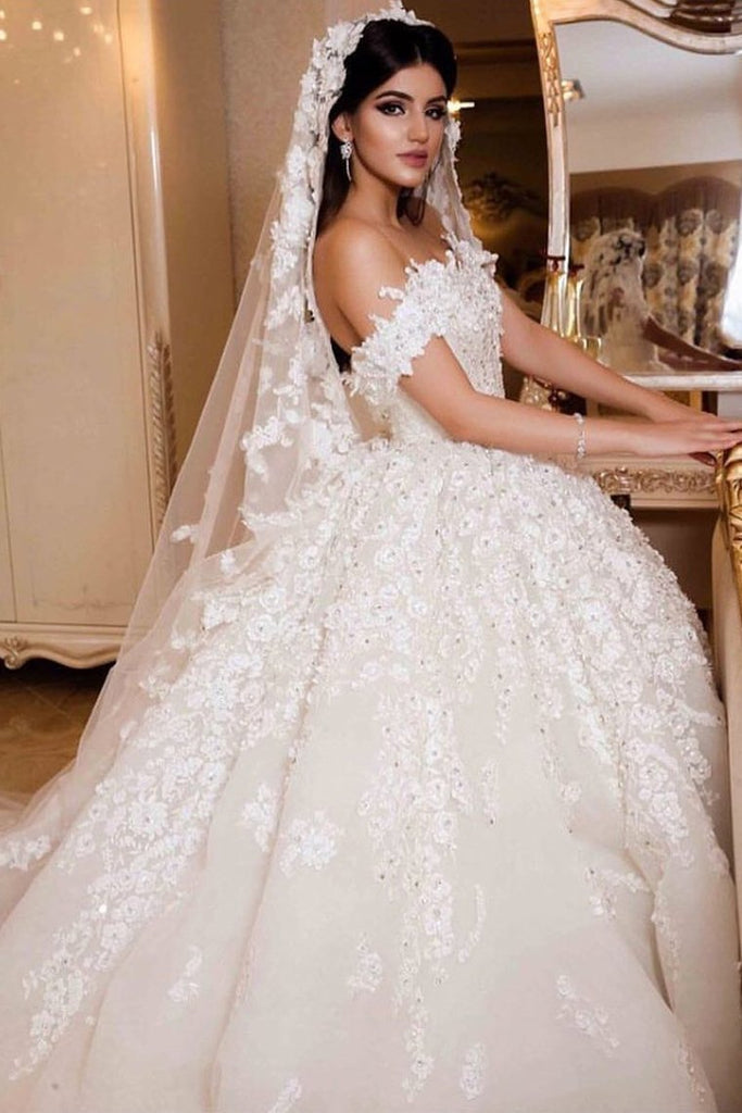 2021 A Line Off The Shoulder Wedding Dresses Tulle With Applique And Beads Court