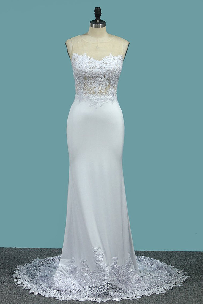 2021 Mermaid Scoop Spandex Wedding Dresses With Applique Sweep