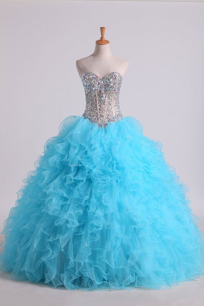 2020 Beaded Bodice Sweetheart Balll Gown Quinceanera Dresses Floor Length