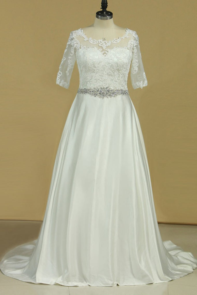 2021 Plus Size Mid-Length Sleeve Wedding Dresses Scoop Satin With Applique