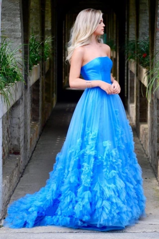 A-Line Strapless Long Prom Dress With