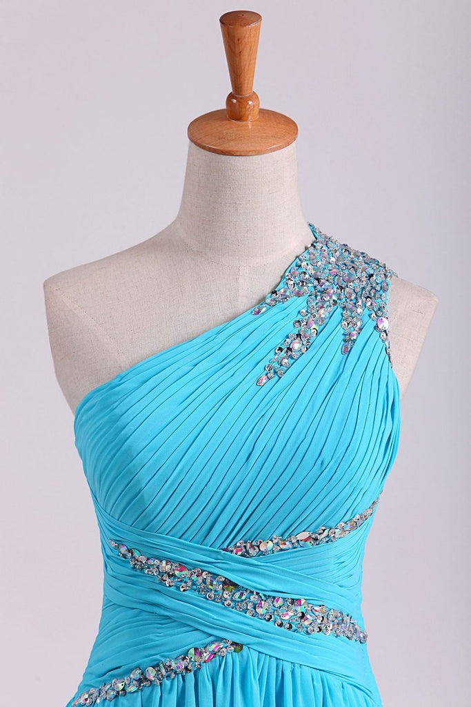 2021 One Shoulder Prom Dresses A Line Chiffon With Beads And Ruffles