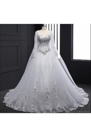 Sweetheart Wedding Dresses A Line With Beading Rhinestones Tulle Long Sleeves Chapel
