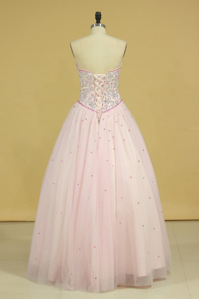 Sweetheart Ball Gown Quinceanera Dresses Tulle With Beads And Rhinestones