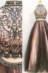 2 Pieces Long Black And Pink Modest Beading A-Line Prom